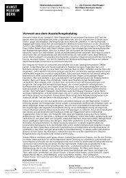 Katalogvorwort Matthias Frehner (pdf) - Kunstmuseum Bern