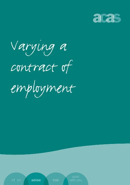 Varying a contract of employment - Acas