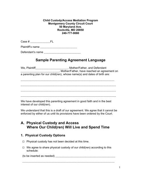 Sample Parenting Agreement Language - Montgomery County