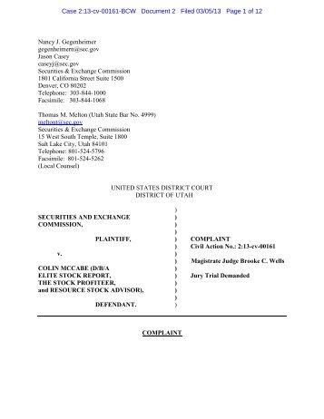 SEC Complaint: Armund Ek - Securities and Exchange Commission