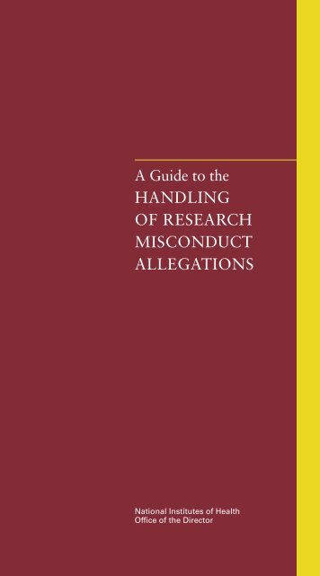 A Guide to the Handling of Research Misconduct Allegations ...