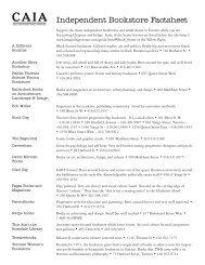 Independent Bookstore Factsheet - Coalition Against Israeli Apartheid