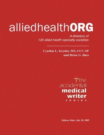 alliedhealthORG - The Accidental Medical Writer