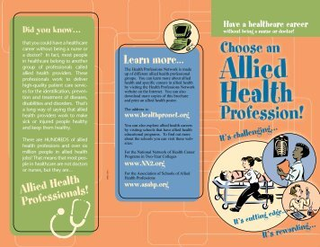 Allied Health Professionals! Learn more. . . - Health Professions ...