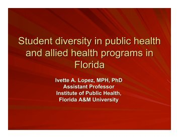 diversity concerns in public health Preparedness for a public health emergency, especially for patients like debra  with  patient education: addressing cultural diversity and health literacy issues.