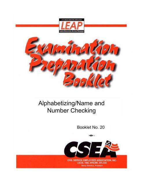 Alphabetizing/Name and Number Checking - Cseaunit8458 org