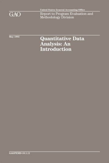 Quantitative Data Analysis - US Government Accountability Office