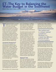ET – The Key to Balancing the Water Budget - Southwest Hydrology