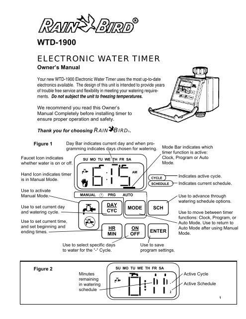 WTD-1900 ELECTRONIC WATER TIMER - Rain Bird