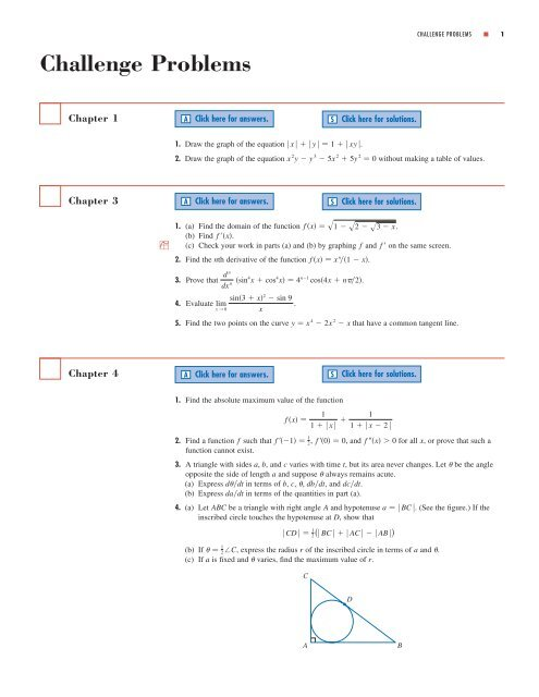 Challenge Problems - Stewart Calculus
