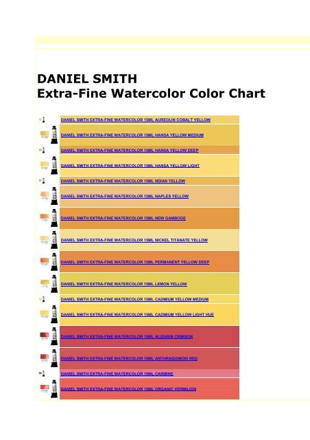 Daniel Smith Extra Fine Watercolor Color Chart Masmoulin