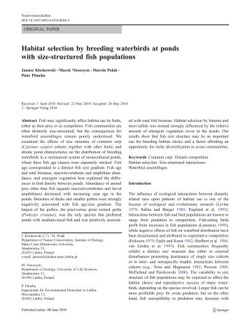 Habitat selection by breeding waterbirds at ponds with size ... - Lublin