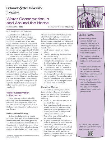 Water Conservation In and Around the Home - Colorado State ...