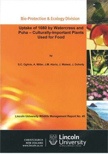 Uptake of 1080 by watercress and puha - Lincoln University ...