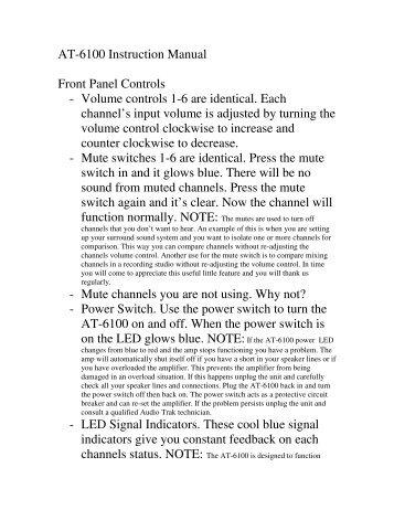 AT-6100 Instruction Manual Front Panel Controls - Volume controls ...