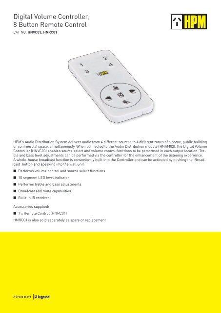 Digital Volume Controller, 8 Button Remote Control - HPM