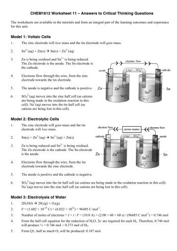Answers to Critical Thinking Questions Model 1 - First Year Chemistry