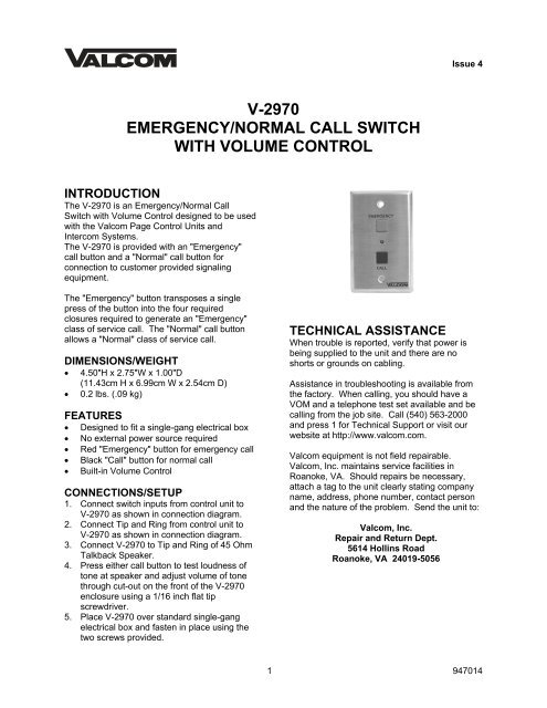 v-2970 emergency/normal call switch with volume control - Valcom on