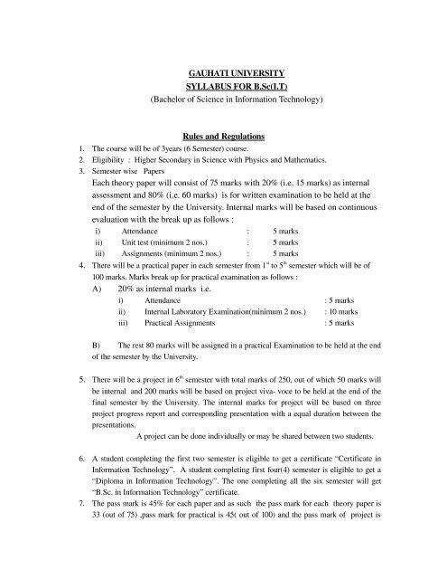GAUHATI UNIVERSITY SYLLABUS FOR B Sc(I T     - LCB College