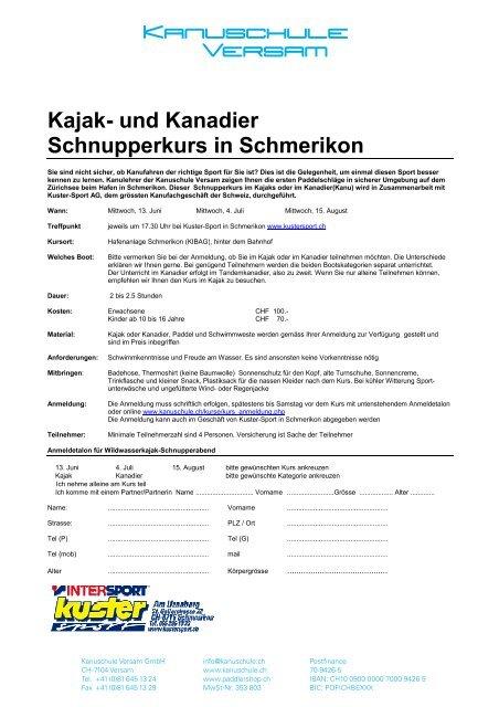 Kajak und Kanadier Schnupperkurs und Kuster Sport AG