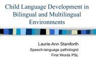 Child Language Development in Bilingual and Multilingual ...