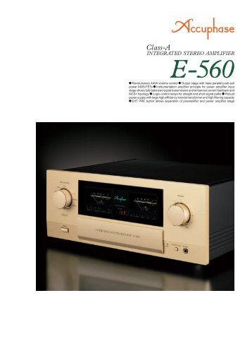 m Revolutionary AAVA volume control m Output stage ... - Accuphase