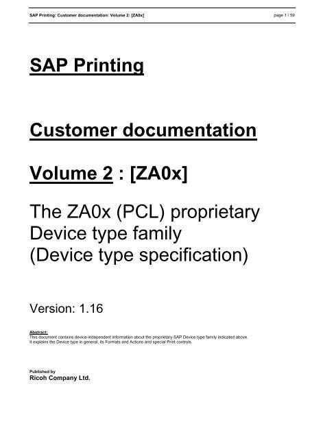 SAP Printing Customer documentation Volume 2 : [ZA0x] The
