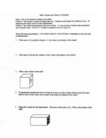 Mass Volume and Density Worksheet Work the following