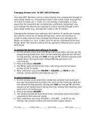 Changing Volume Lock: GI DRC-400/425 Remote Your ... - Mediacom
