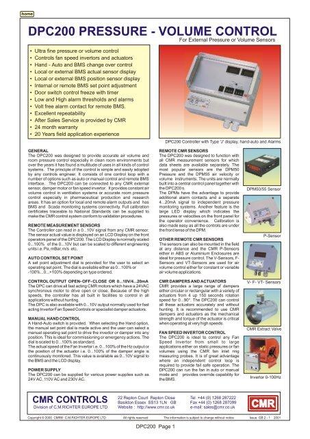 DPC200 PRESSURE - VOLUME CONTROL - CMR CONTROLS