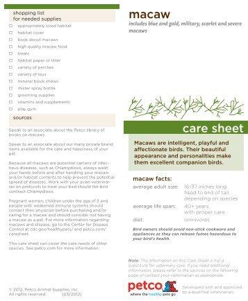 macaw care sheet - Petco.com