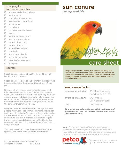 sun conure care sheet - Petco