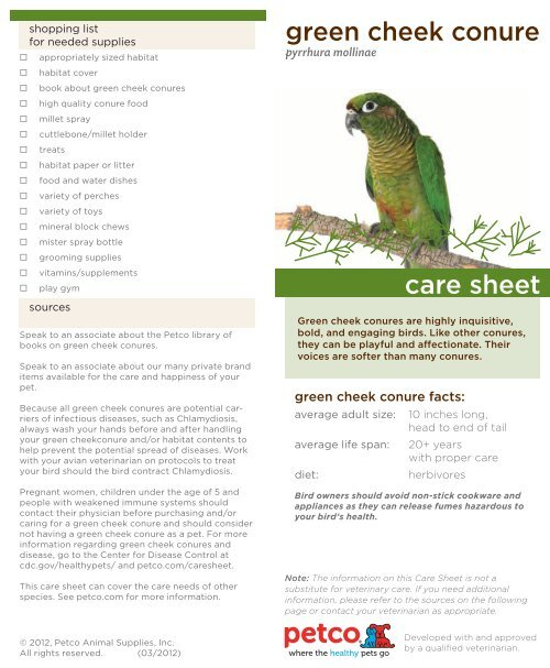 green cheek conure care sheet - Petco