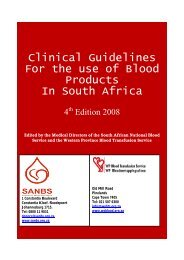 Clinical Guidelines For the use of Blood Products - South African ...