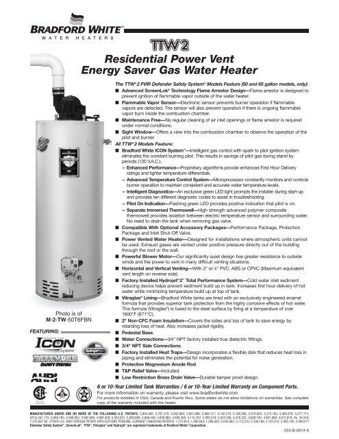 Residential Power Vent Energy Saver Gas Water Bradford White