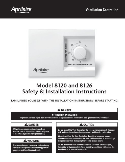 10007162_A Vent Control Install_2 indd - Aprilaire Humidifier & Air