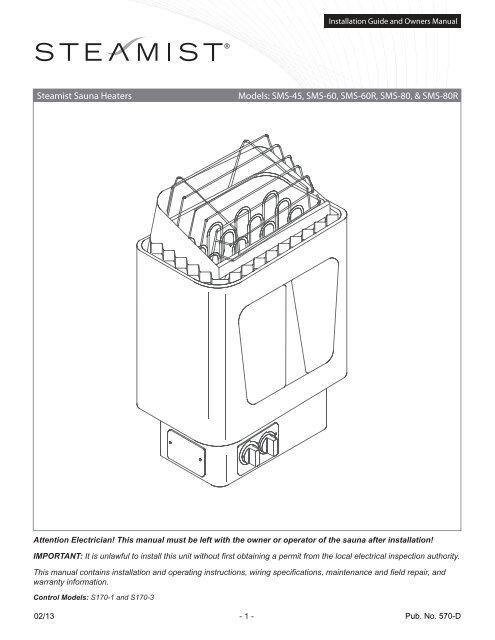 steamist sauna heaters models sms 45, sms 60, sms 60r, sms Sauna Heater Wiring Diagram