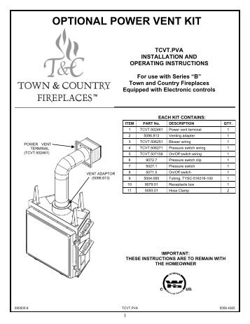 Optional power vent kit - Town and Country Fireplaces