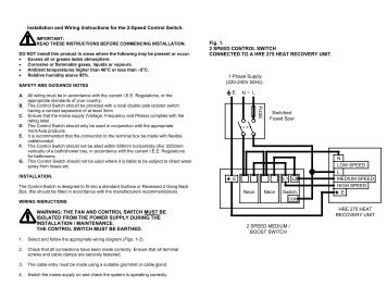 Installation and Wiring Instructions for the 2-Speed ... - Vent-Axia