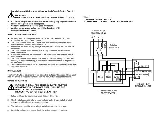 installation and wiring instructions for the 2-speed ... - vent-axia  yumpu