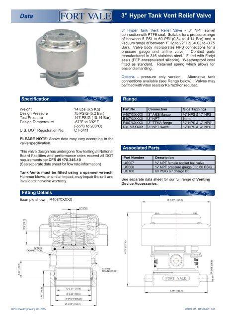 "Data 3"" Hyper Tank Vent Relief Valve - Fort Vale Engineering"