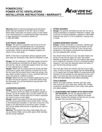 Powercool power attic ventilators installation instructions - Air Vent