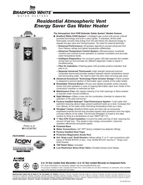 Residential Atmospheric Vent Energy Saver Gas Bradford White