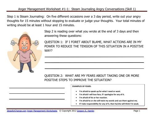 Anger Management Worksheet #1-1: Steam ... - Steps for Change
