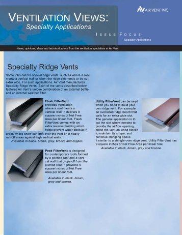 Ventilation Views: Specialty Applications - Air Vent