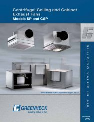 Centrifugal Ceiling And Cabinet Exhaust Fans Models SP - Greenheck