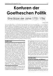 Volker Stubel: Konturen der Goetheschen Politik. Eine Skizze