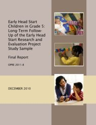 Early Head Start Children in Grade 5: Long-Term Follow-Up of the ...