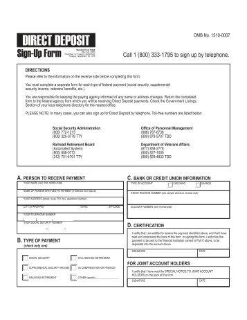 Direct Deposit Authorization Form Instructions