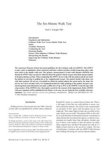The Six Minute Walk Test